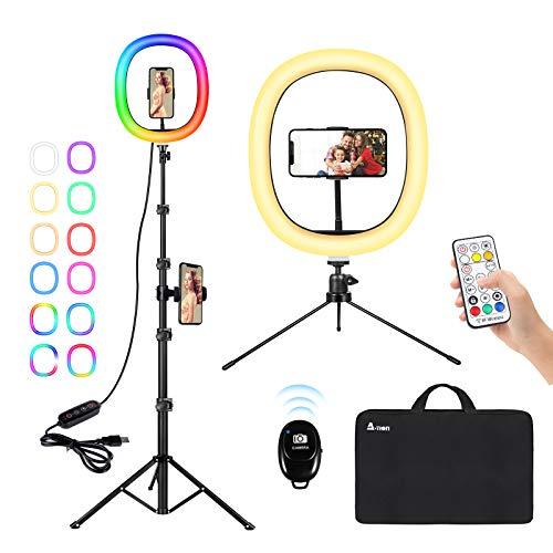 """Aro de Luz para Móvil A-TION 12"""" Anillo de Luz LED con Trípode y Soporte, RGB Luz de Anillo Fotográfica Selfie 140 Leds 10 Niveles de Brillos Regulable para Maquillaje/Volg/Youtube/TIK Tok Live"""
