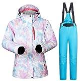 SHANGXIAN Mujer Impermeable Traje de Esquiar Invierno cálido Montaña de Nieve Snowboard esquí Chaqueta y Pantalones,D,M