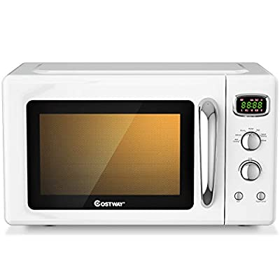 COSTWAY Retro Countertop Microwave Oven, 0.9Cu.ft, 900W Microwave Oven, with 5 Micro Power, Defrost & Auto Cooking Function, LED Display, Glass Turntable and Viewing Window, Child Lock, ETL Certification (White)