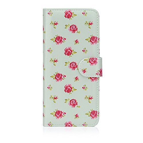 32nd Blumen Series - PU Leder-Mappen-Hülle Hülle Cover für Motorola Moto E5 Plus, Blumendesign hüllen Entwurf gemacht Mit Kartensteckplatz & Magnetverschluss - Weinlese-Rosen-Minze
