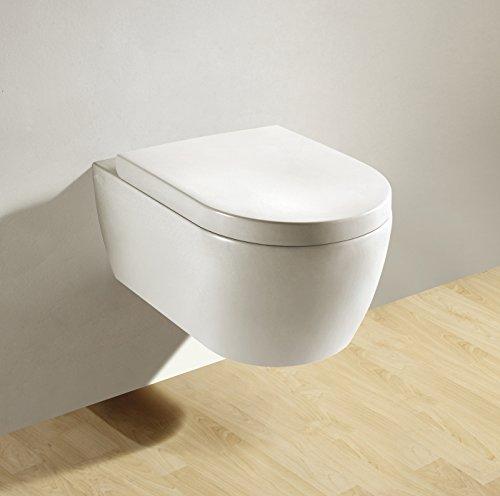 Soho Hänge Wand WC ohne Unterspülrand Toilette Brillant Weiss mit Duroplast WC-Sitz und Nano Beschichtung - 2