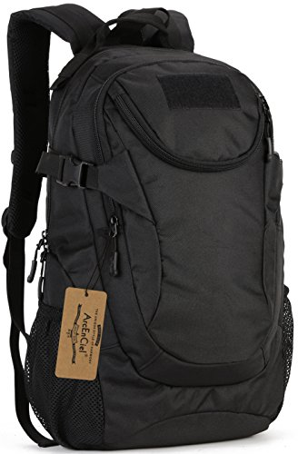 ArcEnCiel Motorcycle Backpack Tactical Military Bag Army Assault Pack Rucksacks for Outdoor Hiking Camping Trekking Hunting - Rain Cover Included (Black)