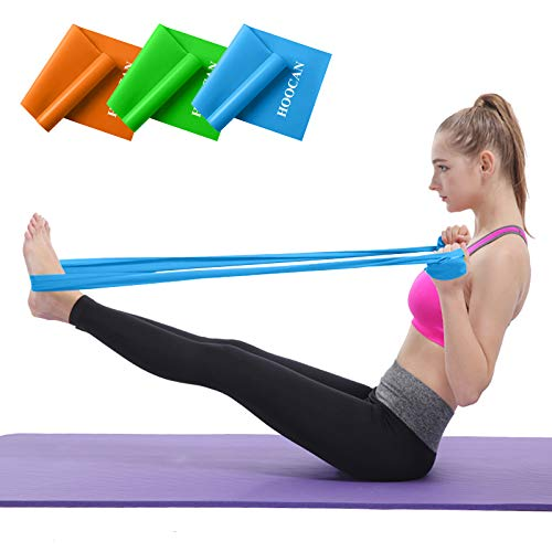 Hoocan Resistance Bands Set, Long Exercise Bands for Arms, Shoulders, Legs and Butt, Workout Stretch Bands for Physical Therapy, Gym, Yoga