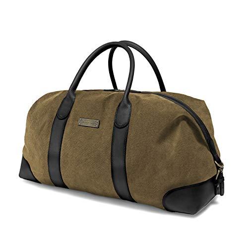 DRAKENSBERG Duffel Weekender - Borsone grande, borsa da viaggio, retrò vintage, per donna e uomo, espandibile, realizzata a mano in qualità premium, 60L, tela e pelle, verde nero, DR00226