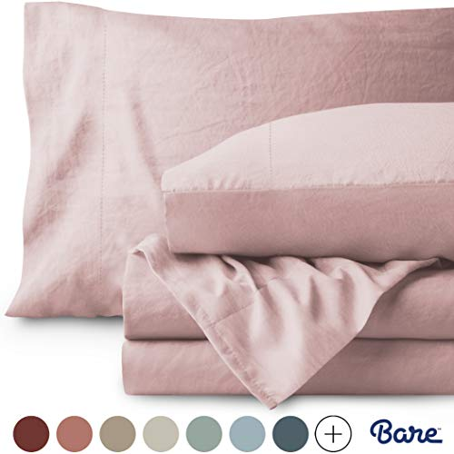 Bare Home Washed Queen Sheet Set - Premium 1800 Ultra-Soft Microfiber Bed Sheets - Double Brushed - Hypoallergenic - Stain Resistant (Queen, Sandwashed Dusty Pink)
