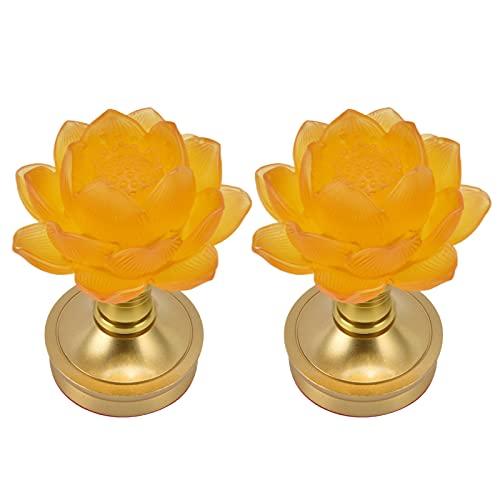 Atyhao 2 Juegos de Luces de Noche, luz LED Budista, Ajuste de 3 Colores, lámpara de Buda, Enchufe de luz de Flores para el hogar, Suministro Budista(100-240 V)
