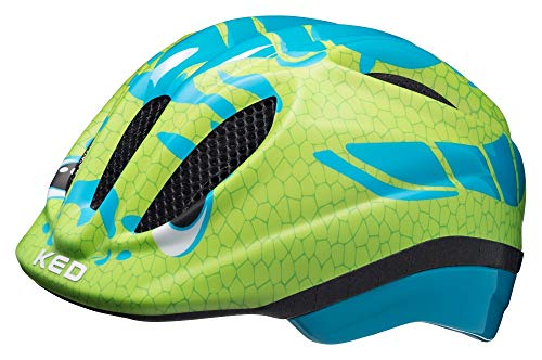 KED Meggy Trend S Dino Light Blue Green - 46-51 cm - inkl. RennMaxe Sicherheitsband - Fahrradhelm Skaterhelm MTB BMX Kinder Jugendliche
