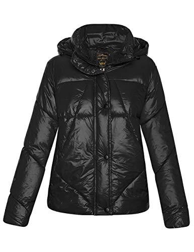 Libland - Giacca lunga da donna trapuntata con pelliccia sintetica rimovibile sul colletto 7564_Nessun colletto in pelliccia, nero L