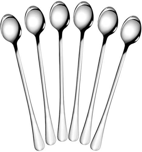 Cucchiaio per gelato in acciaio inox con manico lungo per tè, caffè, frullati. Simple package Acciaio inox