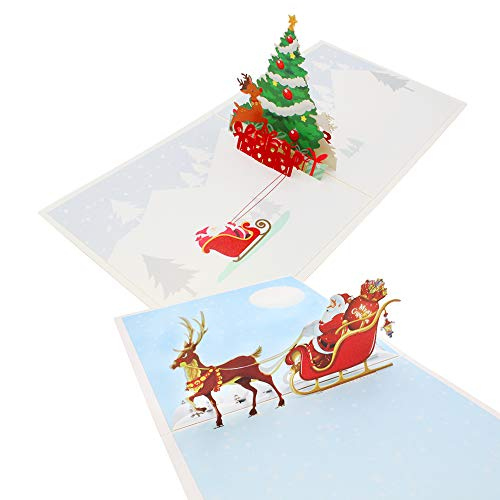 KiKiHong 2 Pack 3D Christmas Cards Pop Up Christmas Greeting Cards Gifts with Envelope for Family Friends (15x15cm)