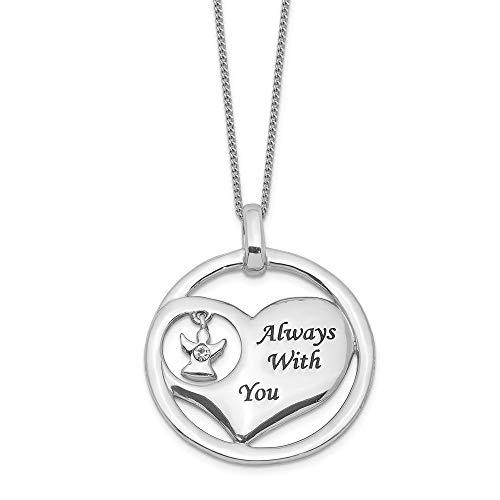925 Sterling Silver Rhod Pltd Crystal Angel Enamel Heart Chain Necklace Pendant Charm Love Fine Jewellery For Women Gifts For Her