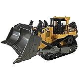 Excavadora RC profesional, cargador de metal 1/16 con luz y efecto sonido 2.4G pala de aleación inalámbrica modelo de construcción vehículos de construcción tractor de juguete adulto niño regalo