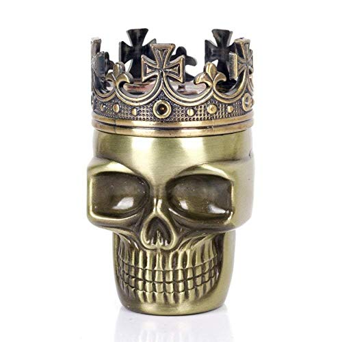 Personal Halloween Theme Classic King Skull Tabaco Herb Spice Grinder 3 Capas Ashtray Ghost Grinders Fumar Accesorios-Retro (Color : Golden)