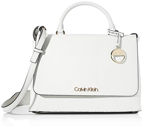 Calvin Klein Damen Sided Top Handle Tornistertasche, Weiß (White), 1x1x1 cm