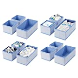mDesign Juego de 12 cajas organizadoras – Cestas de tela transpirables con...