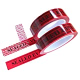 2 Rolls Precut Total Transfer Tamper Evident Warranty Void Security Seal Tapes for Evidence Box & Envelopes, Shipment, Mail, Door, and More (1 in x 55 Yards x 2 mil, Easy-to-Tear, Red – TamperSTOP)