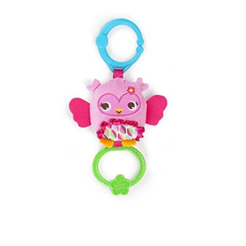 Bright Starts Spielzeug zum Anbringen an den Kinderwagen, Eule, durch Ziehen werden 4 Melodien gespielt, aus weichem Plüschmaterial