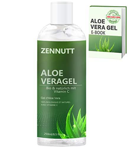 Gel Aloe Vera,250ML BIO 100% Gel Pur d'Aloe Vera avec Gratuit É-Book Naturel Biologique pour Apaiser et Hydrater le Visage,les Cheveux,le Corps,le Soulagement des Coups de Soleil Cadeaux pour Femmes