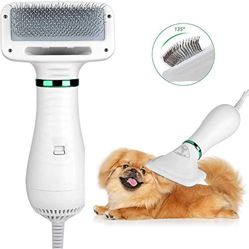 Asciugacapelli per animali domestici Portatile silenzioso 2 in 1 Asciugacapelli per animali domestici Asciugacapelli Ventilatore con spazzola per sfarfallio Temperatura regolabile per cani e gatti
