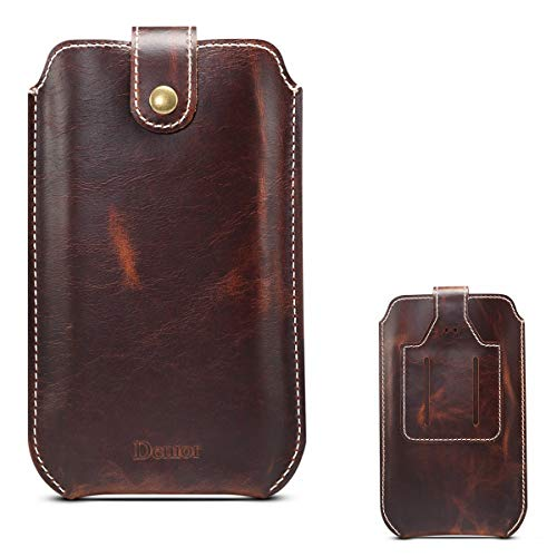 LNOBERN ベルト ポーチ ベルトケース4.7/5.1/5.5/5.8/6.5インチ 本革ケース iPhone.Android 各機種対応 縦型ケース ベルトケース ベルトホルダー ウエストポーチカード収納 腰袋 薄型 スリーブケース「DENIOR」本