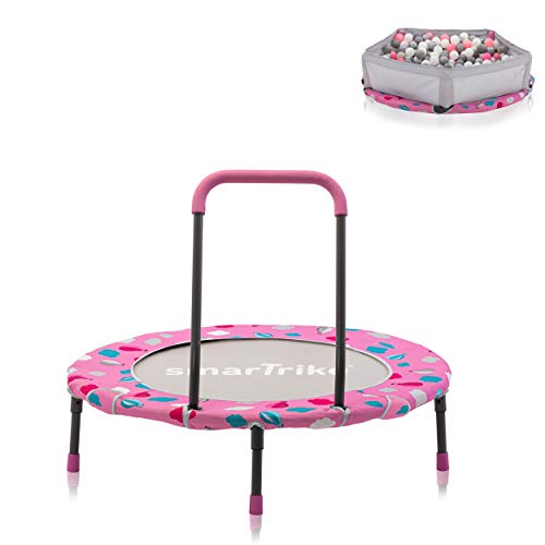 smarTrike 9200003 Indoor Toddler Trampoline with Handle, Ball Pit with 100 Balls Included, Foldable Kids Trampoline, 1-5 Years, Pink