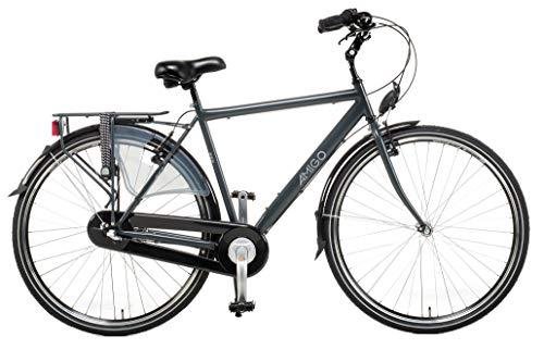 AMIGO Bright - Bicicleta para hombre, de 28 pulgadas, de 160 cm, de ciudad CTB, para hombre, vintage, retro, cambio Shimano de 3 velocidades, para hombre, bicicleta de ciudad, color gris