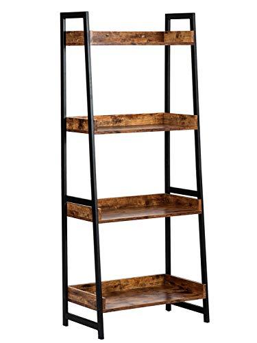 AMOAK 4-Tier Bookshelf, Industrial Ladder Shelf, Bookshelves, Vintage Bookcase, Storage Rack Shelves for Living Room, Bathroom, Wooden and Metal Frame, Retro Brown