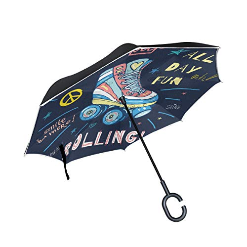 Skate Board Sketch Style Doodles Rainproof and Windproof UV Protection Double Layer Folding Inverted Umbrella with C-Shaped Handle Reverse Umbrellas For Car Rain Outdoor