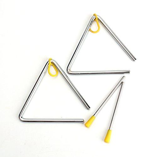 Foraineam - Juego de 2 triángulos para instrumentos de percusión de mano de 12,7 cm con golpeador