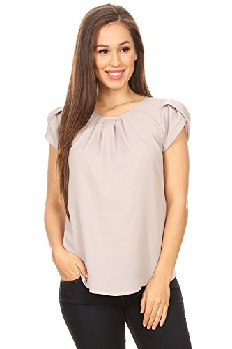 April Apparel Inc. Via Jay's Basic Casual Simple Short Puff Sleeve Relaxed Blouse Top (Silver Gray, Large)