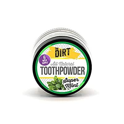 The Dirt All Natural Tooth Powder - Gluten & Fluoride Free Organic Teeth Whitening Powder with Essential Oils | No Added Sweeteners, Artificial Flavors or Colors - Super Mint, 6 Week Supply