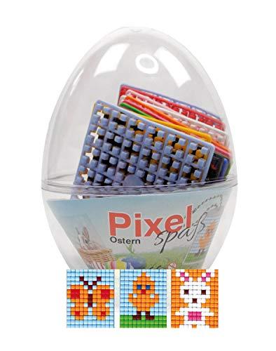 Pracht Creatives Hobby P90064-12501 Pixel Spaß Geschenkset im Ei, tolles Ostergeschenk für Kinder, mit 3 Schmetterling, Küken und Hase