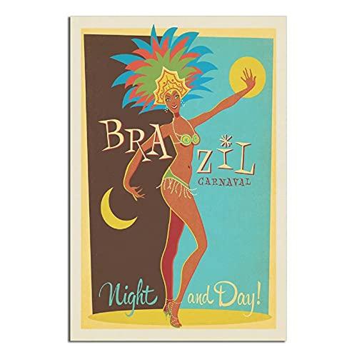 RQSY Póster vintage de viaje de Brasil Carnaval Lienzo Cuadro Moderno Oficina Familiar Dormitorio Decorativo Carteles Regalo Decoración de Pared Pintura Poster 20 × 30 cm