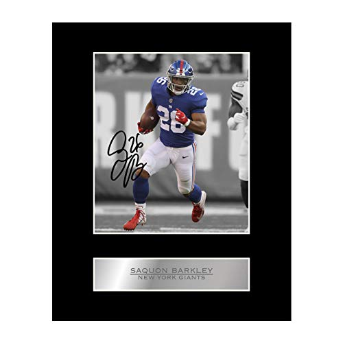 Saquon Barkley Signed Mounted Photo Display New York Giants #05 NFL Printed Autograph Gift Picture Print