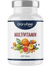 Multivitamine hoge dosering - 450 tabletten met alle a-z vitamines - Calcium, Biotine, Selenium, Zink, Foliumzuur, Vitamine A, B1, B2, B3, B5, B6, B12, C, D3, E - getest en geproduceerd in Duitsland