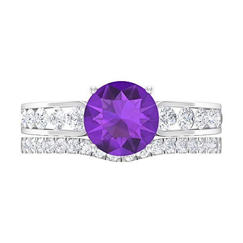 Rosec Jewels 14 quilates oro blanco redonda round-brilliant-shape H-I violeta Diamond Amethyst