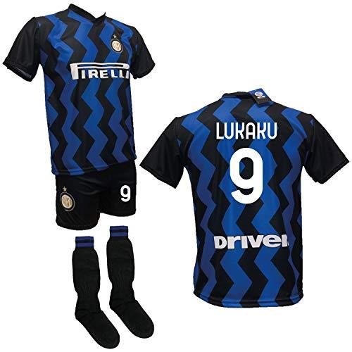 DND DI D'ANDOLFO CIRO Completo Calcio Maglia Lukaku Inter, Pantaloncino con Numero 9 Stampato e Calzettoni Replica Autorizzata 2020-2021 Taglie da Bambino e Adulto (12 Anni)