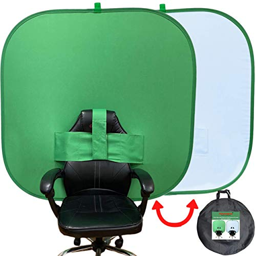 NOVARENA 2-in-1 Work from Home Video Conferencing Dual-Sided 59'/150cm Square Webcam Zoom Background Screen Privacy Chroma Key Green Screen Chair Backdrop - Video Chats Skype YouTube Video Calls