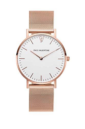 PAUL VALENTINE ® Damenuhr mit Mesh Armband - 32, 36 oder 38mm - Edle Damen Uhr mit japanischem Quarzwerk - Spritzwassergeschützt - Armbanduhr für Damen (Marina Rose Gold Mesh 36 mm)