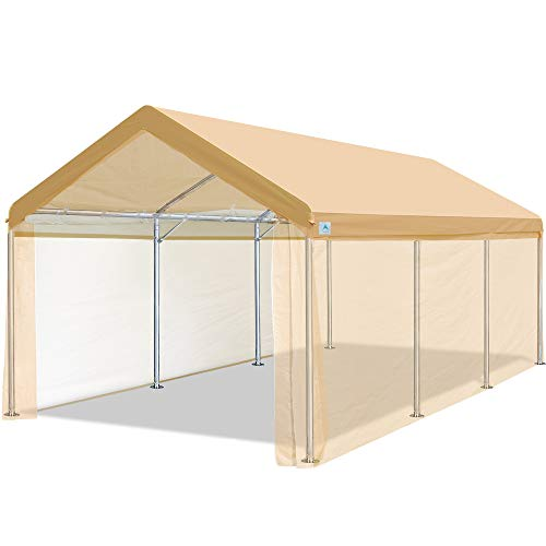 ADVANCE OUTDOOR 10 x 20 ft Heavy Duty Carport Car Canopy Garage Shelter Boat Party Tent, Adjustable Heights from 6.5ft to 8.0ft, Removable Sidewalls and Doors, Beige
