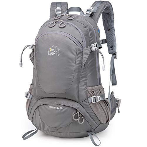 Aveler 36L Unisex Lightweight Nylon High Performance Backpack with Integrated Rain Cover for Hiking Camping Travel (Gray-36L)