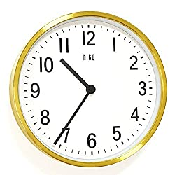 HITO Silent Non Ticking Wall Clock Glass Front Cover Accurate Sweep Movement 12 inch Modern Decorative for Kitchen, Living Room, Bathroom, Bedroom, Office (Gold 2)