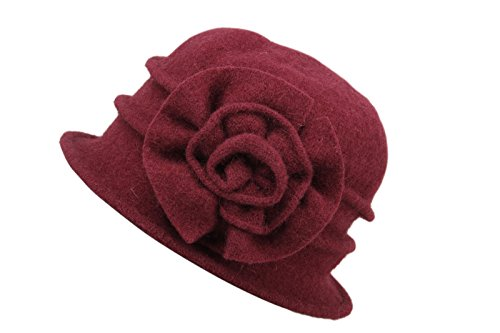 DANTIYA Women's Winter Classic Wool Cloche Bucket Hat Warm Cap with Flower Accent (Wine Red)