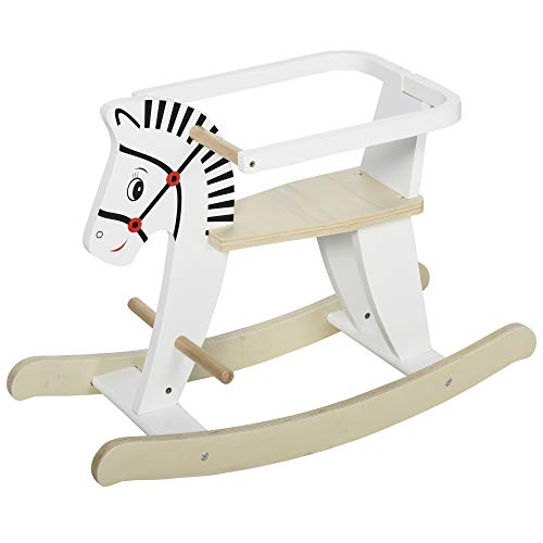 HOMCOM Kids Wooden Rocking Horse Ride On Toy w/Safety Guardrail Handlebar Foot Bar Traditional Rocker Furniture 3-6 Years White