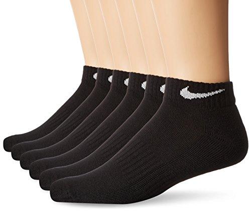 NIKE Unisex Performance Cushion Low Rise Socks with Band (6 Pairs), Black/White, Medium
