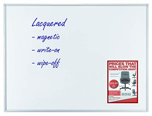 Franken SC4212 Schreibtafel (magnethaftend, Alurahmen mit Ablageleiste, 60 x 45 cm) emailliert weiß