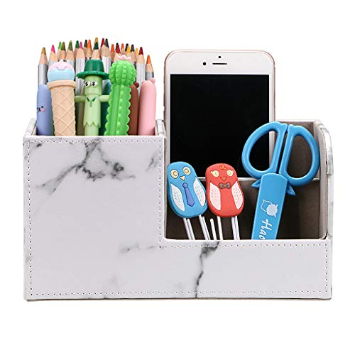BTSKY Desk Pen Pencil Holder Leather Multi-function Desk Stationery Organizer Storage Box Pen/Pencil, Cell phone, Business Name Cards Remote Control Holder (Marble White)