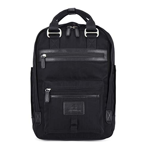 SEVENTEEN LONDON – Moderner, einfacher und Unisex 'Wimbledon' Rucksack in schwarz/schwarz mit einem klassischen Design im Skandi-Stil – perfekt für 13-Zoll-Laptops