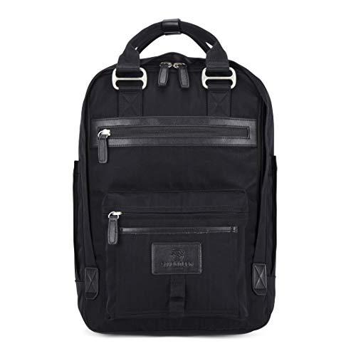 "SEVENTEEN LONDON – Modern Urban Unisex Black & Black 'Wimbledon' Backpack in a Classic Slim Simple Design – Fits Laptop up to 13"""