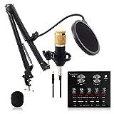 Ybzx Micrófono de Condensador, BM-800 Micro Set Estudio Profesional, Tarjeta de Sonido V8 Recargable con 12 Tipos de música de Fondo Auxiliar Cardioide para grabación y transmisión en Estudio